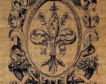 French Fleur de Lis Ornate Frame Digital Image Download Sheet Transfer To Pillows Tote Bags Tea Towels Burlap No. 1420