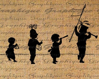 Children Follow Leader Musical Instruments Old World Digital Image Download Transfer To Pillows Tote Tea Towels Burlap No. 1835