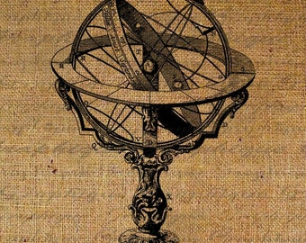Antique Armillary Sphere Sundial Globe World Garden Digital Image Download Transfer To Pillows Tote Bags Tea Towels Burlap No. 1044