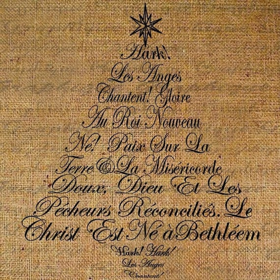 Hark The Herald Angels Sing French Text Christmas Tree Digital Image Download Transfer To Pillows Tote Tea Towels Burlap No 1333