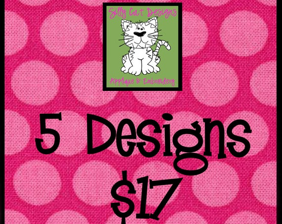 5 Applique Designs for 17 Dollars