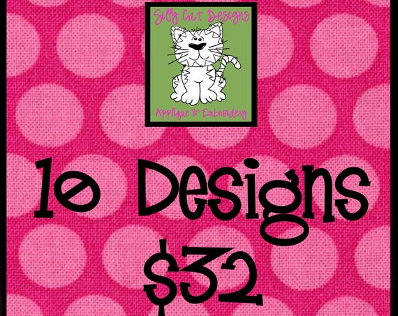 10 Applique Designs for 32 Dollars