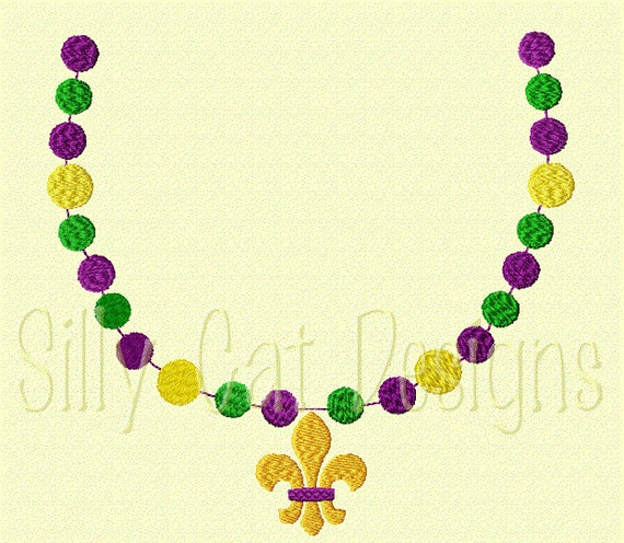 Mardi Gras Beads with Fleur De Lis Pearl Necklace Embroidery Design