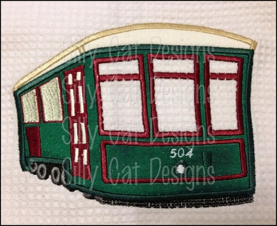 New Orleans Street Car Trolly Applique Design