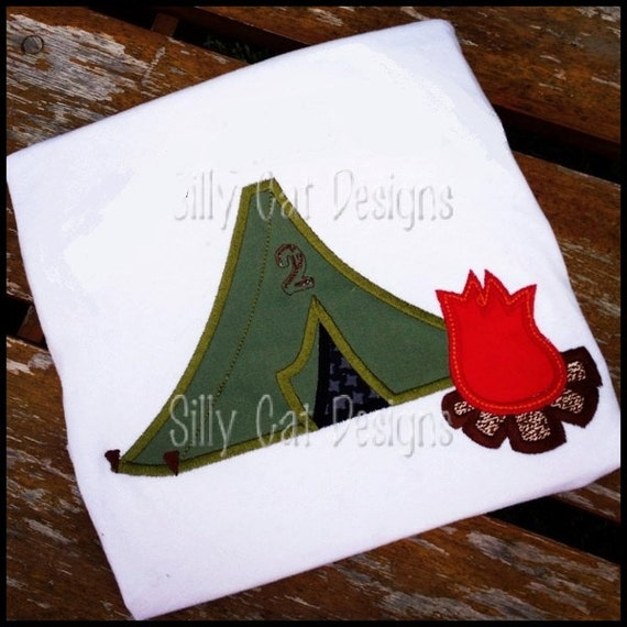 Camping Tent and Fire Embroidery Applique Design