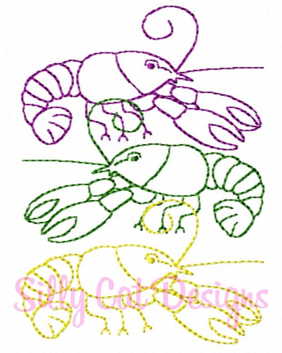 Mardi Gras Crawfish Trio Vintage Embroidery Design