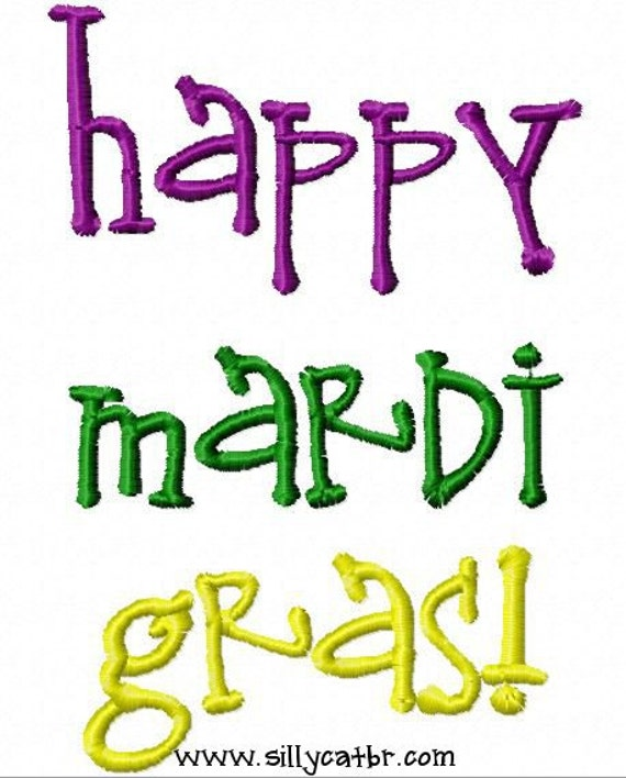 Happy Mardi Gras Embroidery Design