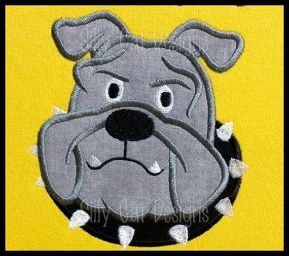 Bulldog with Collar Applique Embroidery Design