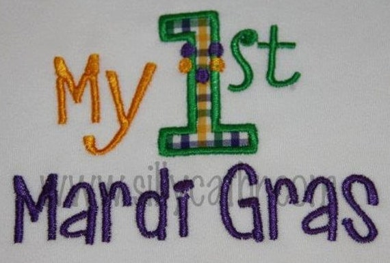 1st Mardi Gras Applique Embroidery Design