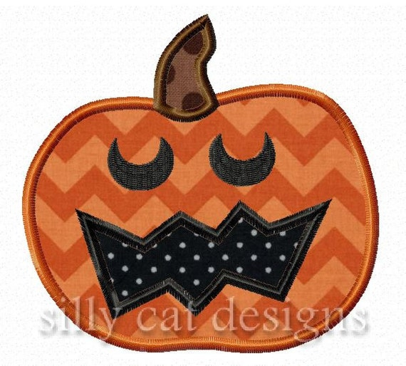 Zig Zag Mouth Pumpkin Applique Embroidery Design