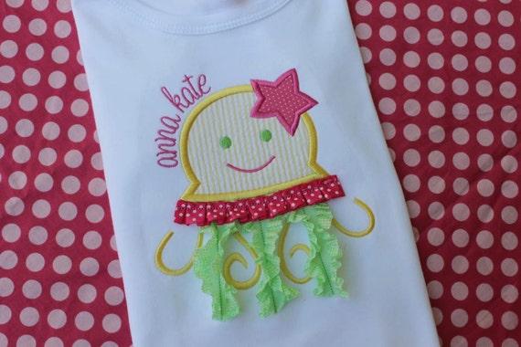 Jellyfish ribbon machine embroidery applique design
