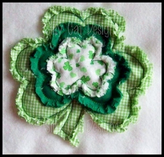 Raggy Shamrock Applique Machine Embroidery Design