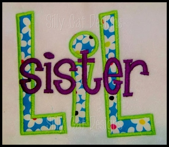 Big/Lil Sister/Brother Applique Design