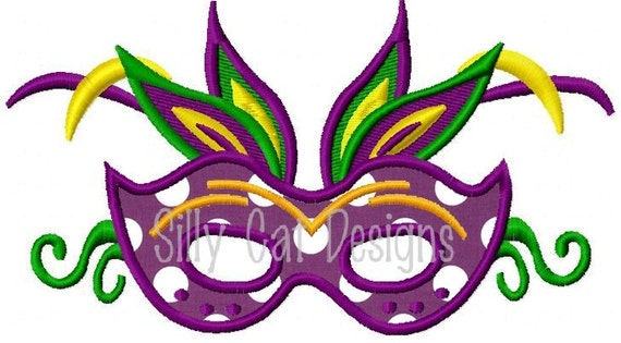 Feather Mardi Gras Mask Applique Design