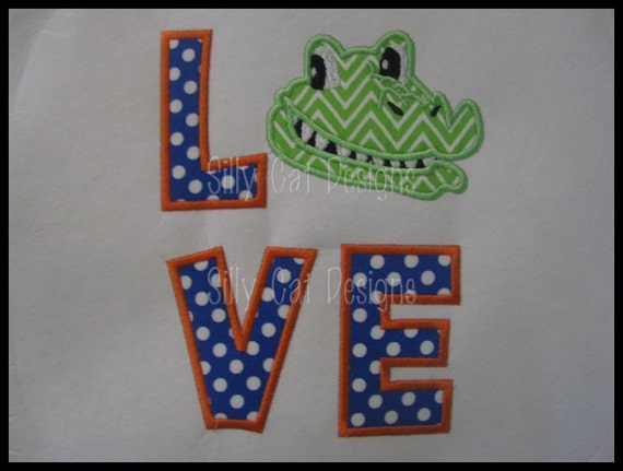 Gator Love Applique Machine Embroidery Design