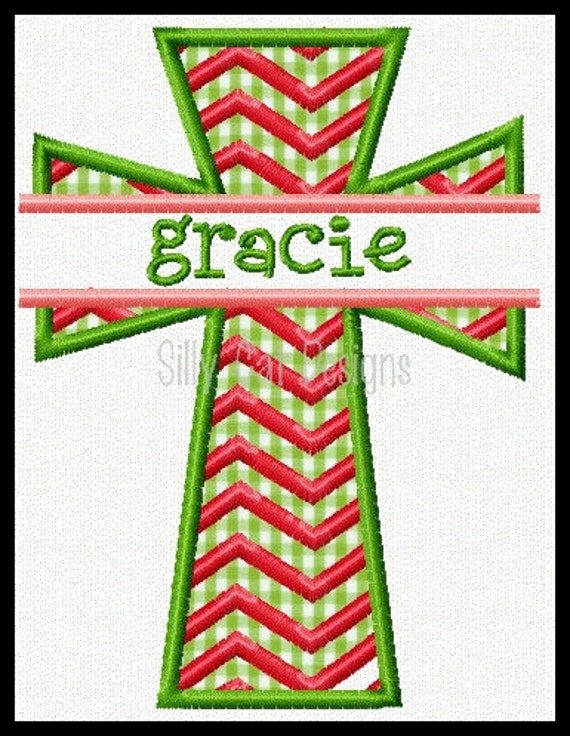 Split Chevron Cross Applique Machine Embroidery Design