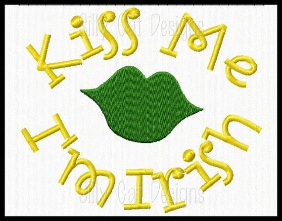 Kiss Me I'm Irish Machine Embroidery Design