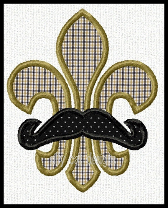 Mustache Fleur De Lis Applique Machine Embroidery Design