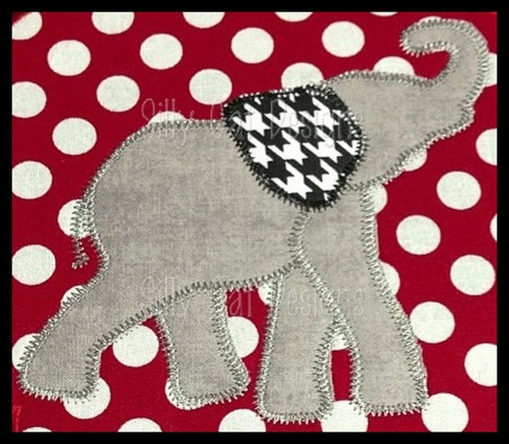 Zig Zag Elephant Fun Ear Applique Embroidery Design