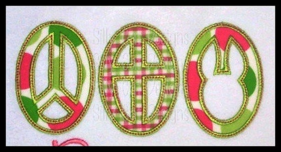 Peace Cross Bunny Applique Machine Embroidery Design