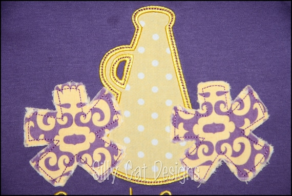 Megaphone and Pom Pom Cheerleader Applique Design -- 2 Finishes