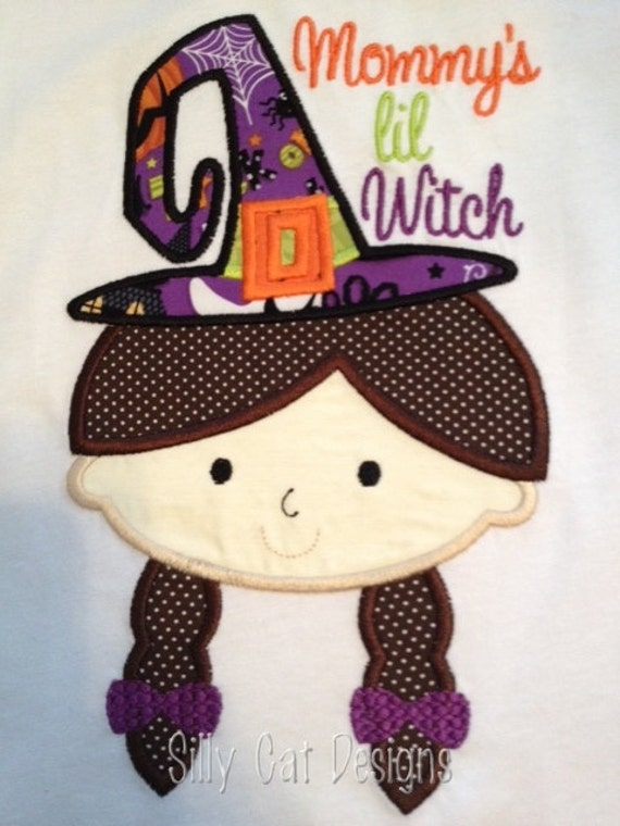 Girl Witch Applique Design