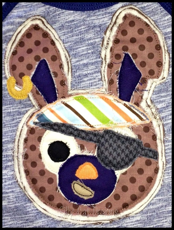 Pirate Bunny Raggy Applique Machine Embroidery Design