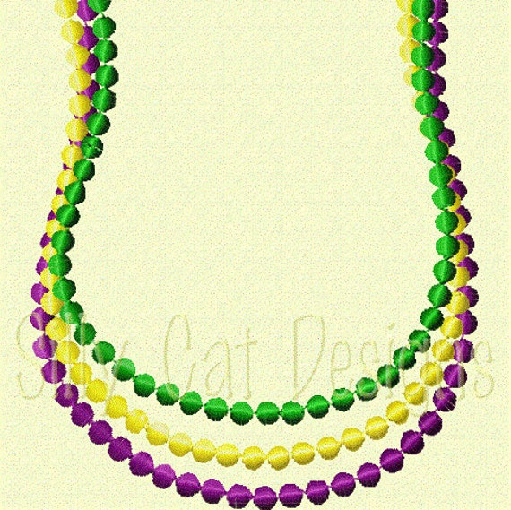 Mardi Gras Pearl Necklace 2 Embroidery Design