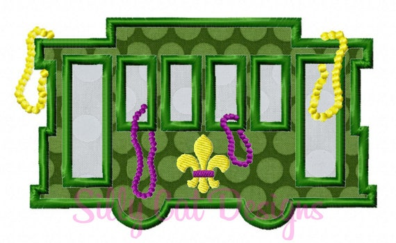 New Orleans Street Car Mardi Gras Embroidery Applique Design