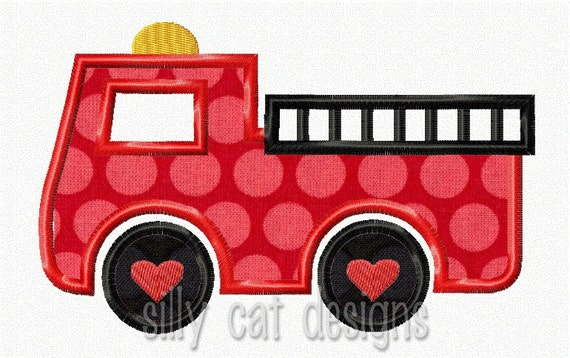 Fire Truck Hearts Applique Design