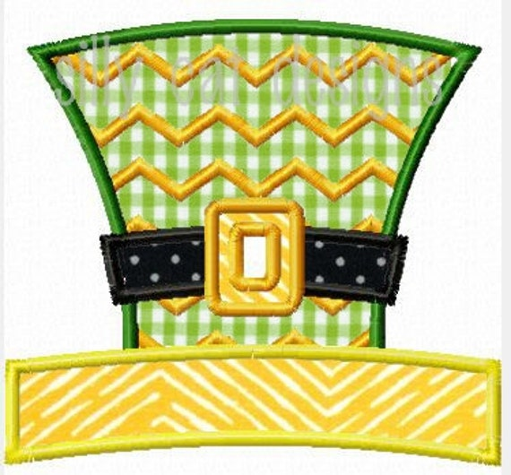 Chevron Leprachaun Hat Applique Machine Embroidery Design