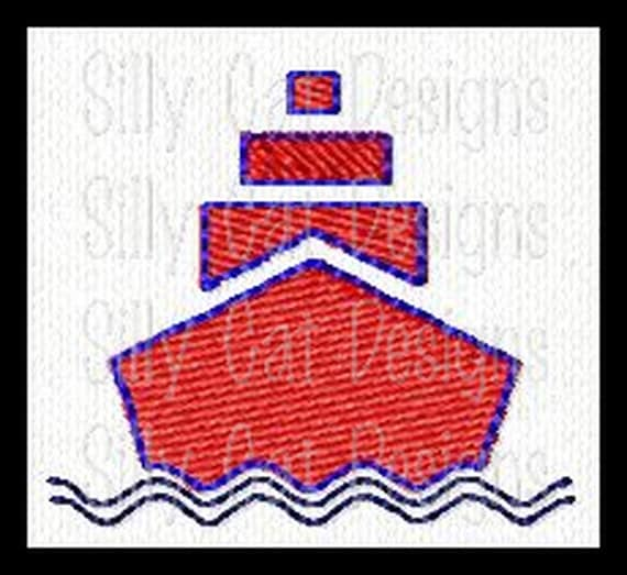 Boat Mini Fill Stitch Embroidery Design
