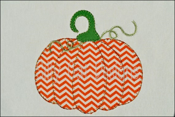 Vintage Pumpkin Applique Embroidery Design