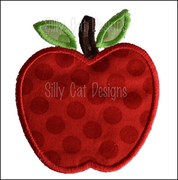 Apple Applique Machine Embroidery Design