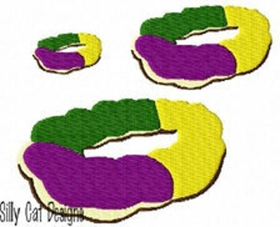 Mini King Cake Mardi Gras Embroidery Design