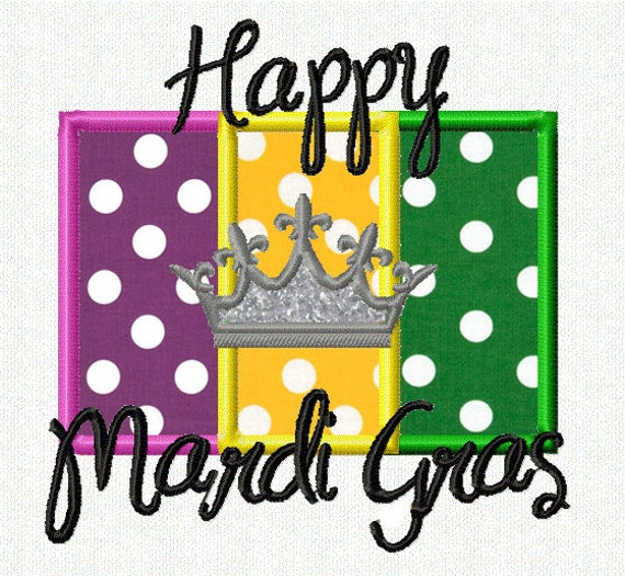 Happy Mardi Gras Applique Flag Applique Design