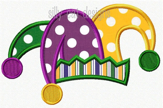 Mardi Gras Jester Hat Applique Design