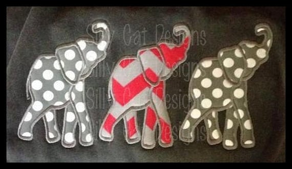 Elephant Trio Applique Embroidery Design
