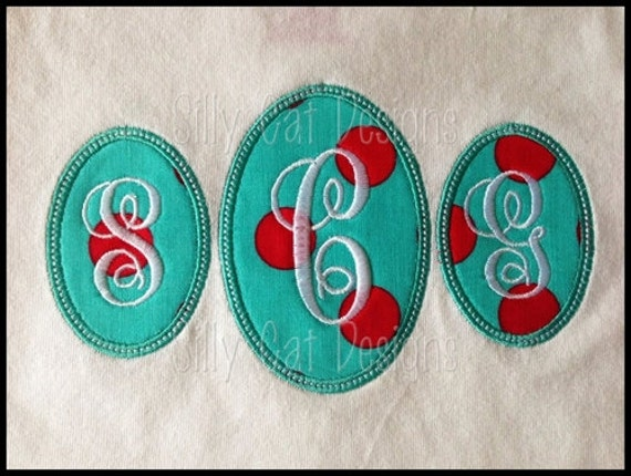 Oval Trio Monogram Applique Machine Embroidery Design