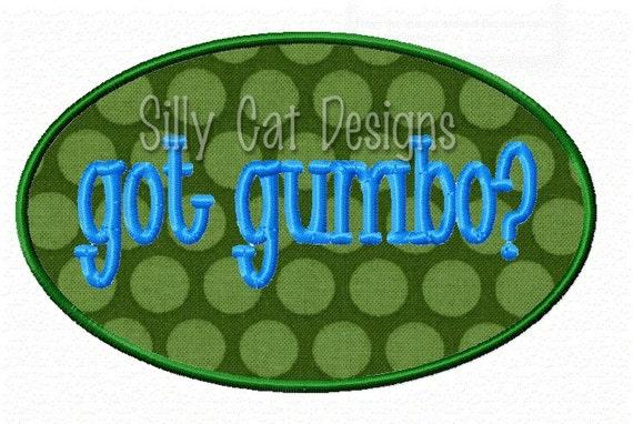 Got Gumbo? Applique Embroidery Design
