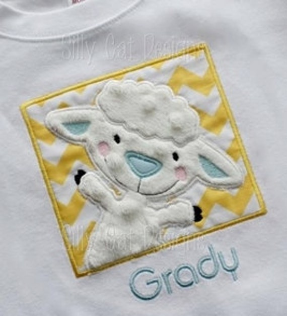 Lamb Patch Applique Machine Embroidery Design