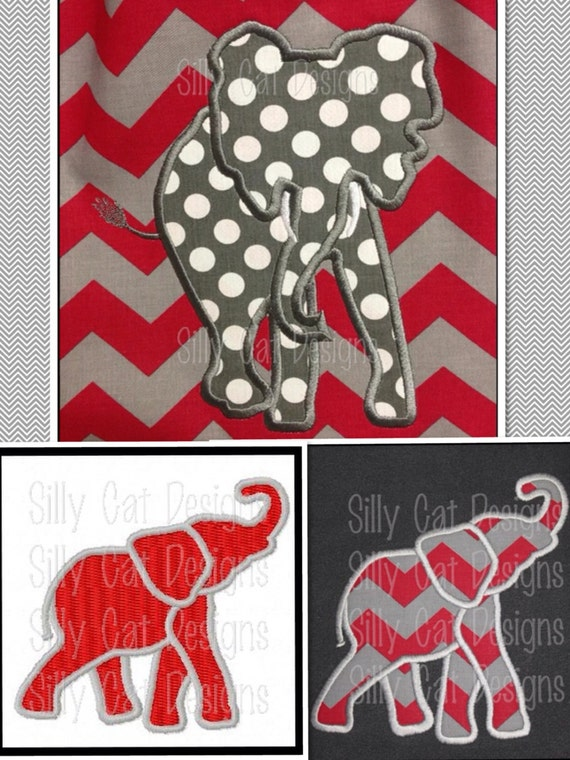 Elephant Applique and Fill Stitch Embroidery Designs (3 designs)
