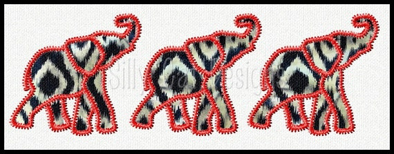 Zig Zag Elephant Trio Applique Embroidery Design