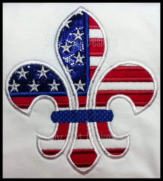 4th of July Fleur De Lis Applique Machine Embroidery Design