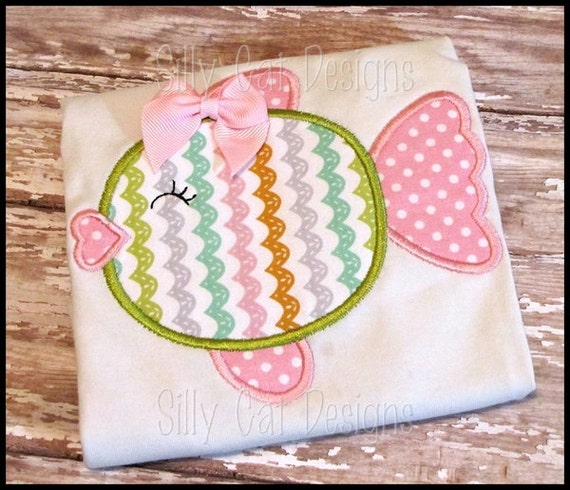 Heart Fishy Applique Design