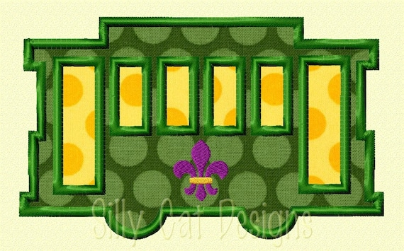 New Orleans Street Car with Fleur De Lis Applique Design
