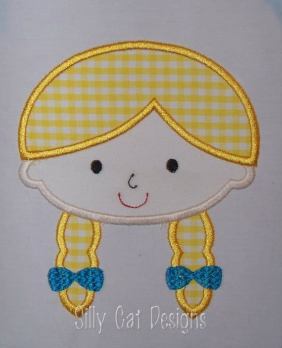 Pigtail Girl Applique Design