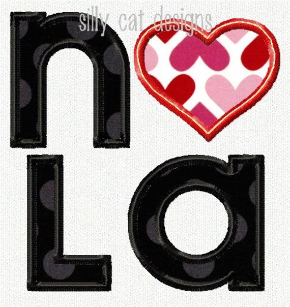 NOLA Love Applique Machine Embroidery Design
