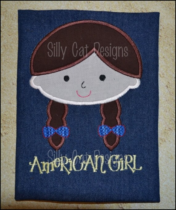 American Girl 4th of July Applique Machine Embroidery Design