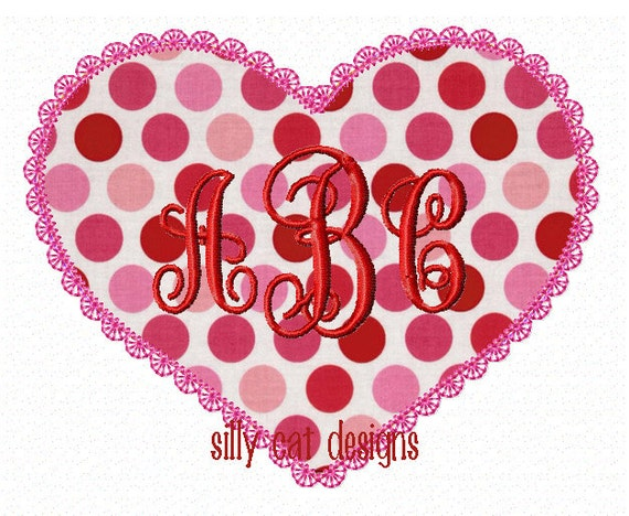 Vintage Heart Applique Machine Embroidery Design